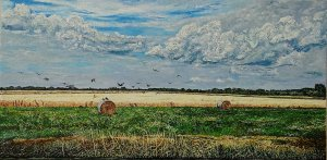 The one with crows above a cornfield